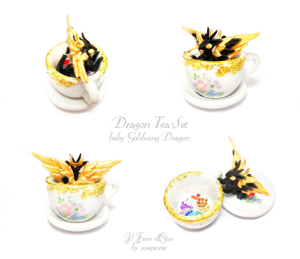 Dragon Tea Set - Baby Goldwing Dragon by rosepeonie