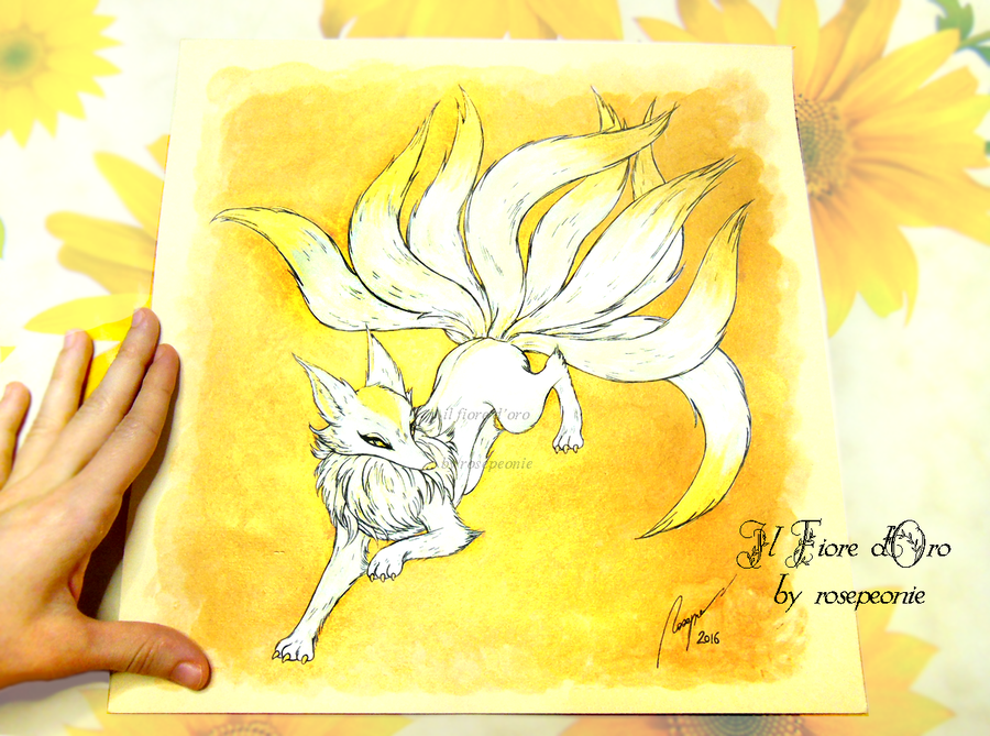 Illustration - Nine-tailed fox leaping by rosepeonie