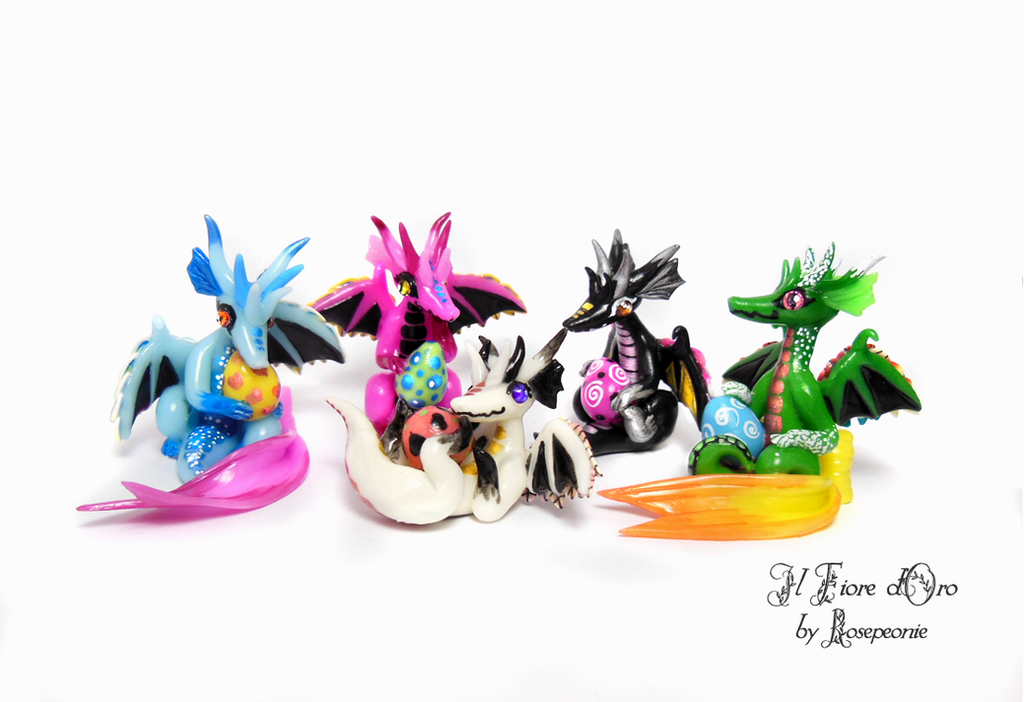Snouty dragons with eggs by rosepeonie