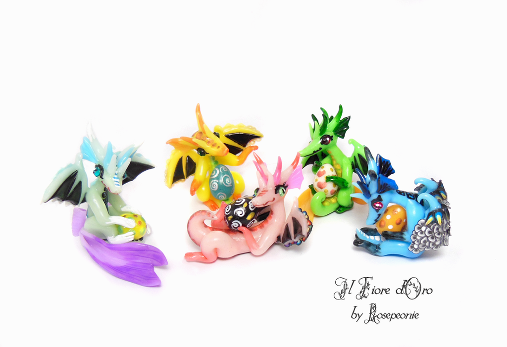 Snouty dragons with eggs 2 by rosepeonie