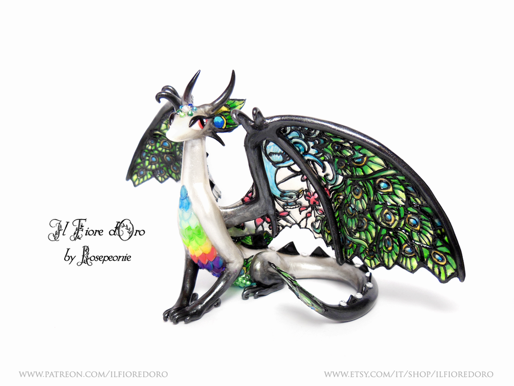 Peacock Glasswing Dragon (deluxe) by rosepeonie