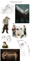 Dean, Cas and Sam - hunting life sketchdump by Beginte
