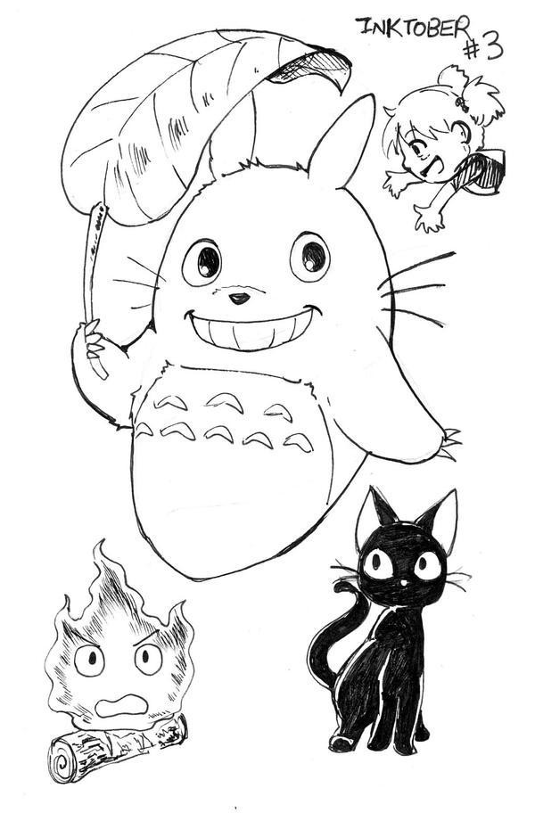 Inktober: Ghibli - Totoro, Jiji and Calcifer by Joichiroll