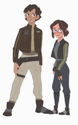 Cassian Andor and Jyn Erso by flybynite19