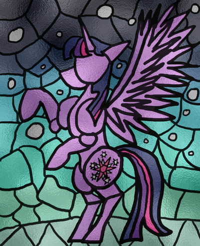 Stained Glass Princess Twilight Sparkle by MicroGalaxies