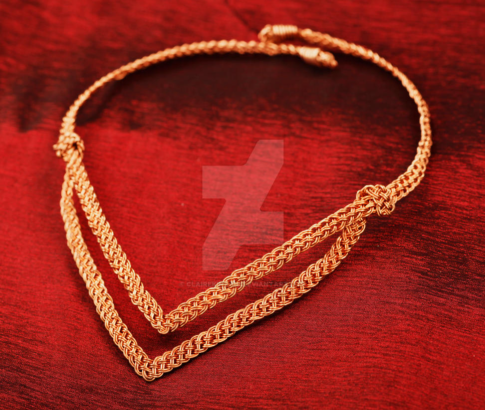 Woven V Necklace Red Background by ClaireKincaid