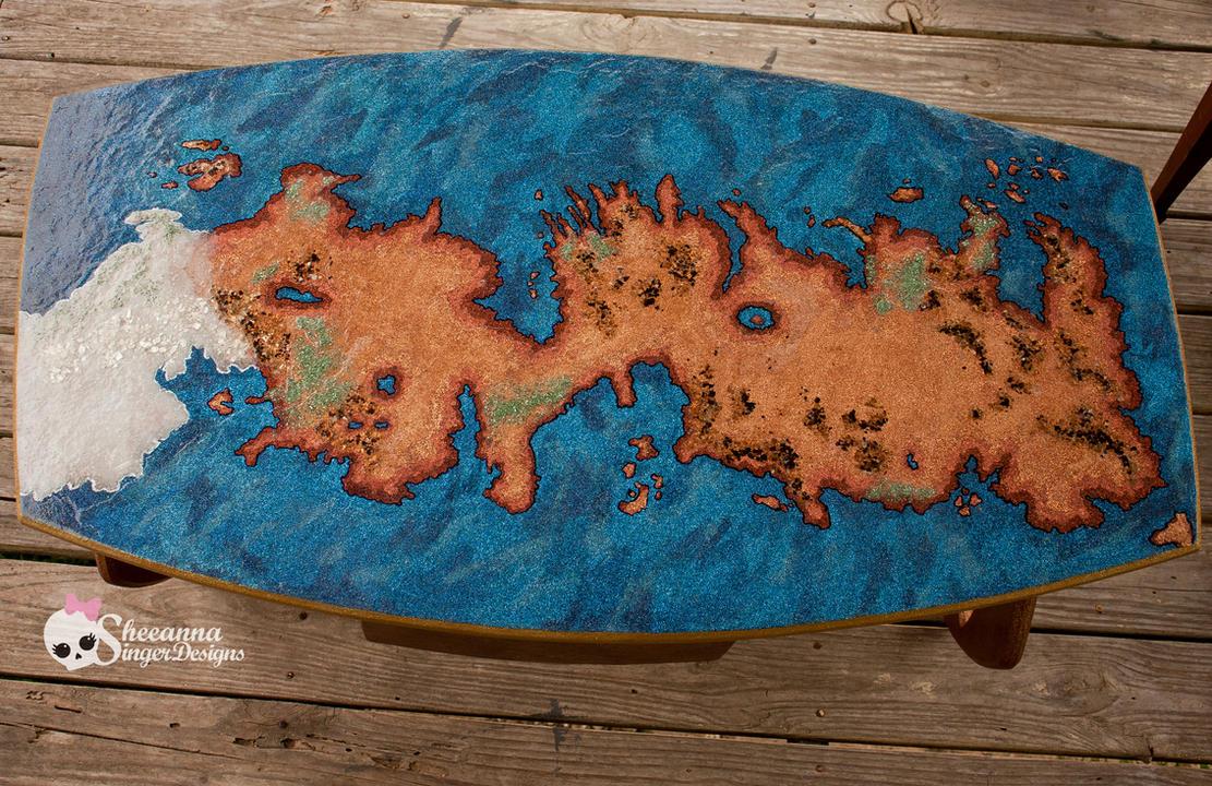 Game Of Thrones Westoros Map Glitter Coffee Table By Sheeannasingerdesign