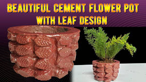 Beautiful cement flower pot with leaf design