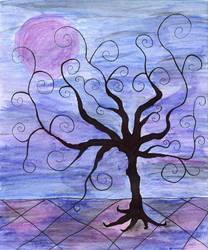 Mystical Black Tree On Pattern