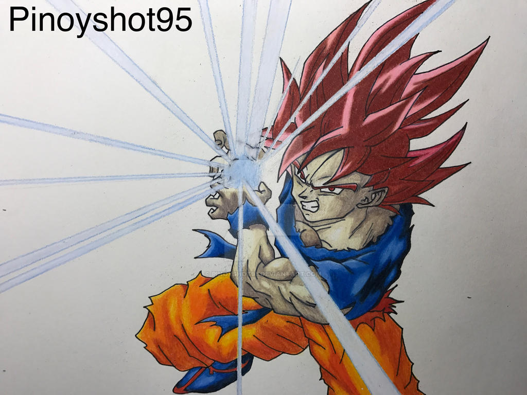 Goku Super Saiyan God Drawing By Pinoyshot95 On Deviantart