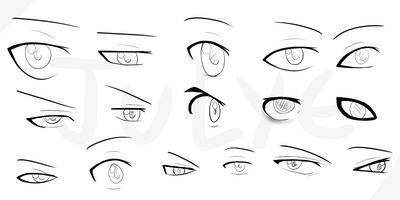 Anime male eyes - examples by JULYE-sama