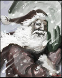 Santa Clause in Snow Storm