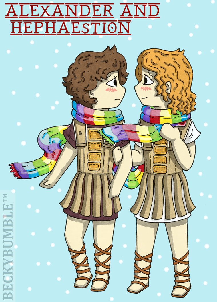Alexander and Hephaestion and their rainbow scarf by BeckyBumble