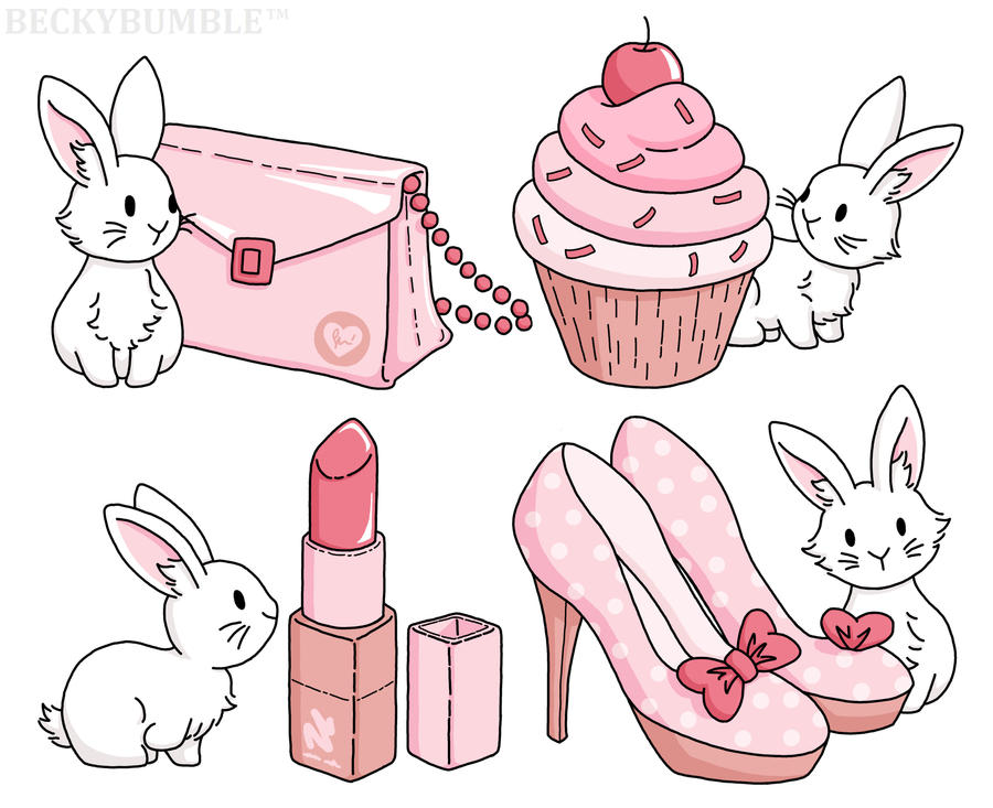 Bunnies with pink stuff by BeckyBumble