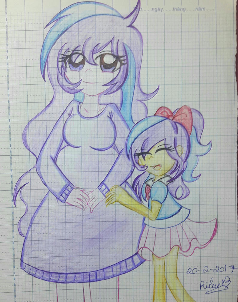 Melody Aurora and her daughter by selenamoon12