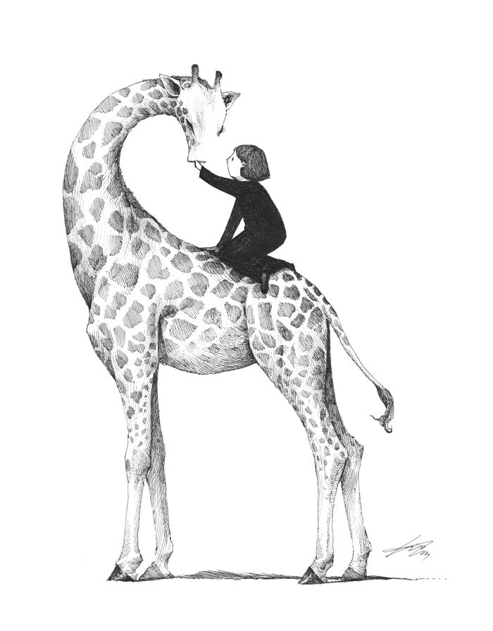 Giraffe drawing by spowys on DeviantArt Cool Giraffe Drawing