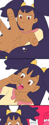 Iris catches tiny (not drawn by me) by GiantessUniverse