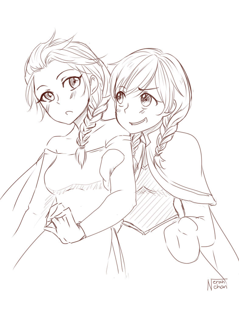 Sketch: Elsa and Anna by Nerah-chan