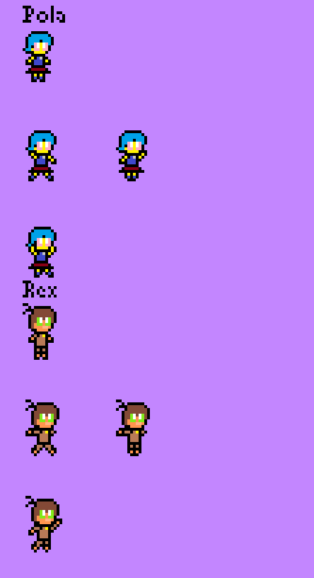 Baby Pola and Baby Rex Sprites by RacketFewl