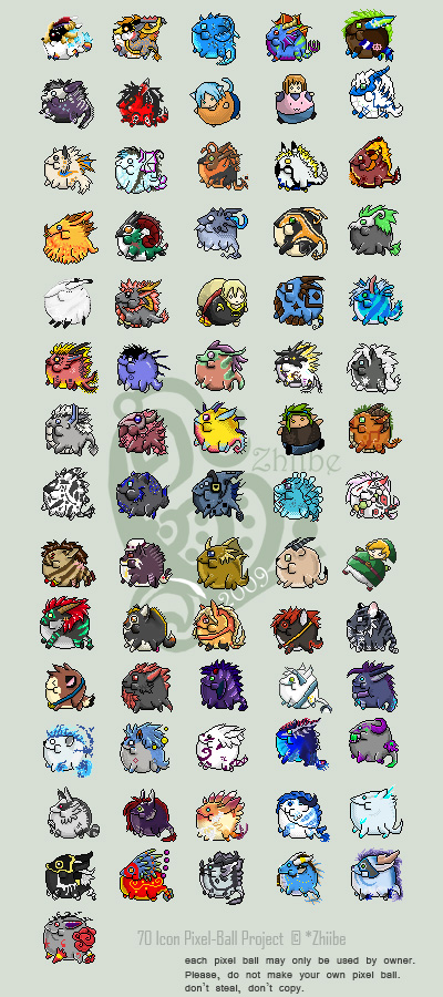 71 Icon Pixel Ball Project by Zhiibe