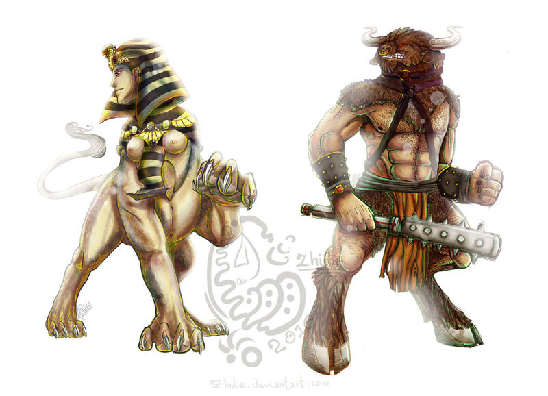 Sphinx and Minotaur Commission by Zhiibe