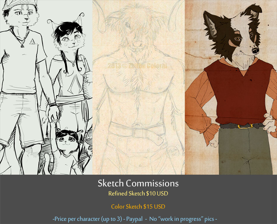 Regular Sketch Commissions OPEN (3 slots) by Zhiibe