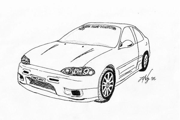 honda civic sketch by lilwy on deviantart