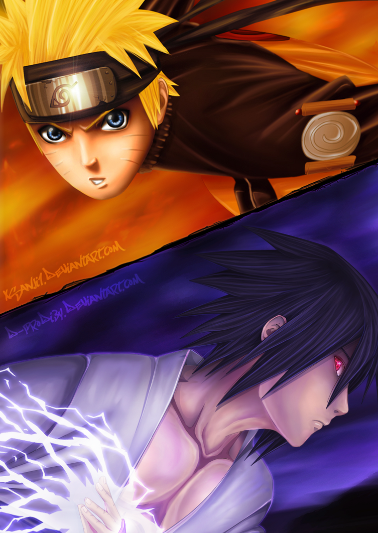 Naruto vs. Sasuke by Yahik0