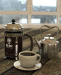 3D French Press and coffee 02
