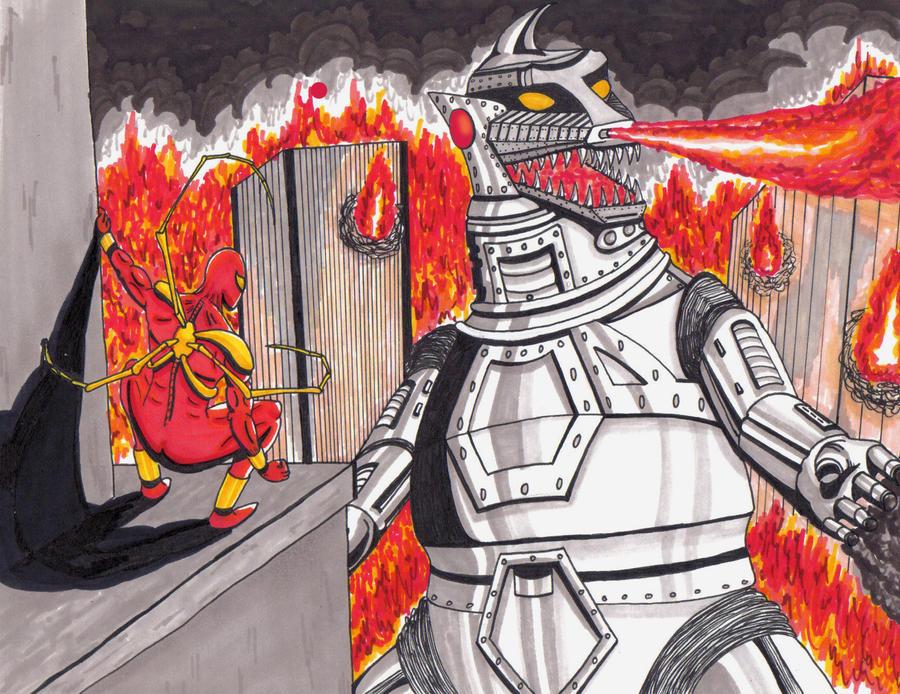 Mechagodzilla vs Iron Spider-man by MichaelMorales