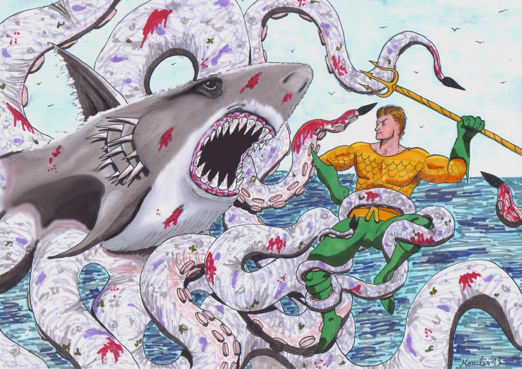 Sharktopus Vs Aquaman by MichaelMorales