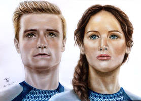 Katniss and Peeta - The Hunger Games by tanjadrawing