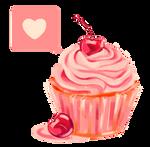 Cherry Heart Cupcake PNG