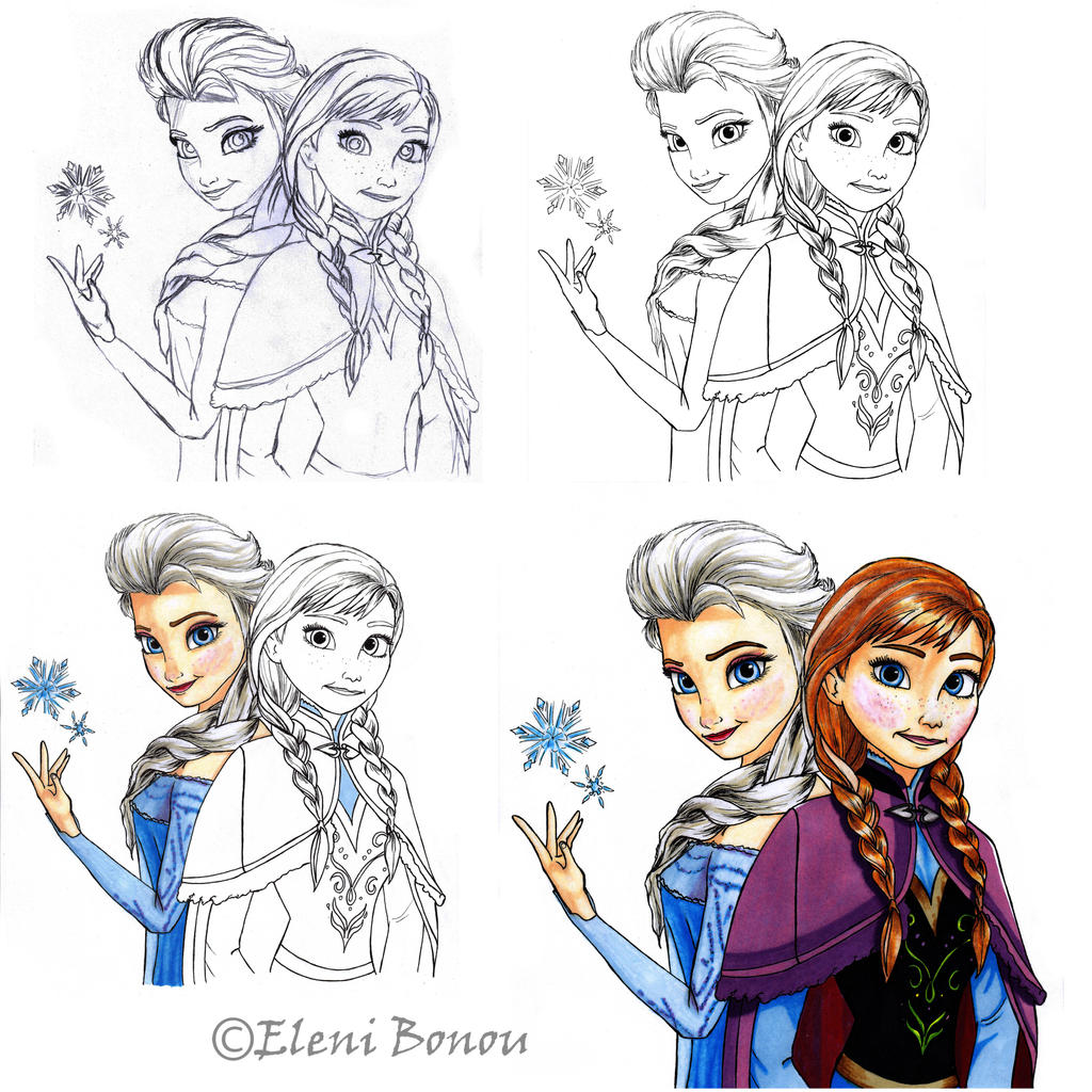 Elsa and Anna by Sondim