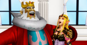 The King and Zelda laughing