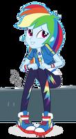 MLP EG Vector - Rainbow Dash sitting (W/ bench)