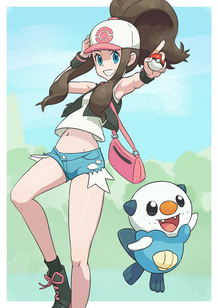 Pokemon trainer Hilda with Oshawott. by Gameguran
