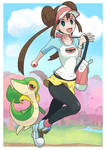 Pokemon trainer Rosa with Snivy