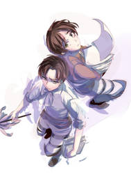 Shingeki Heichou and Eren by noDuckiEallow