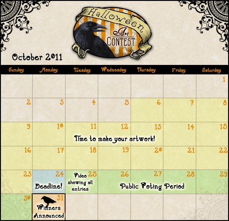 Calendar Art Competition : Halloween contest calendar by transientart on deviantart