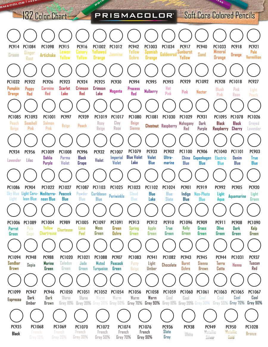 Prismacolor 132 Premier Colored Pencil Chart