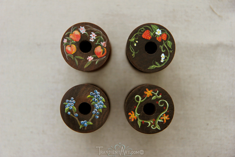 Hand Painted Wooden Spools By Transientart On Deviantart