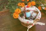 Painted Spools in Basket