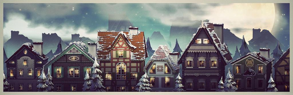 winter houses by nennnnnn