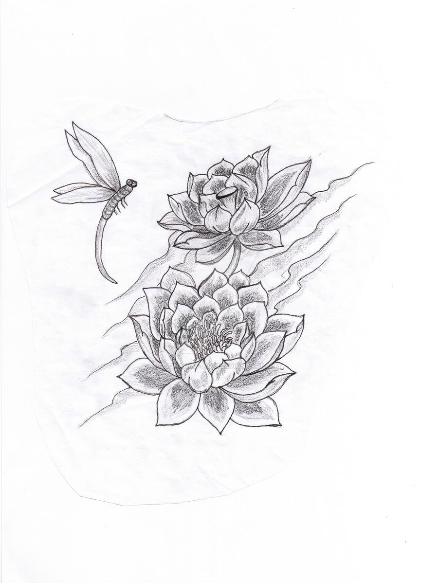 lotus dragonfly tattoo art by johanna joan on deviantart. Black Bedroom Furniture Sets. Home Design Ideas