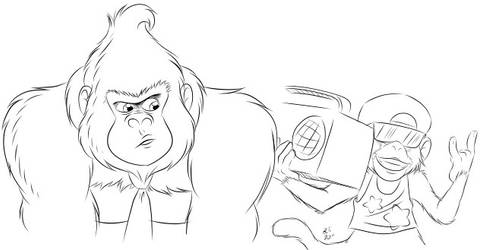 Stylized Donkey and Diddy Kong by BThomas64