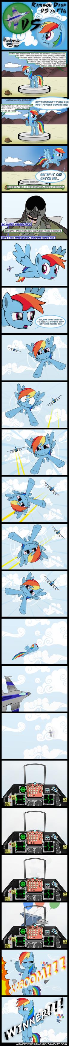 Rainbow Dash vs an F16 by Neutronicsoup