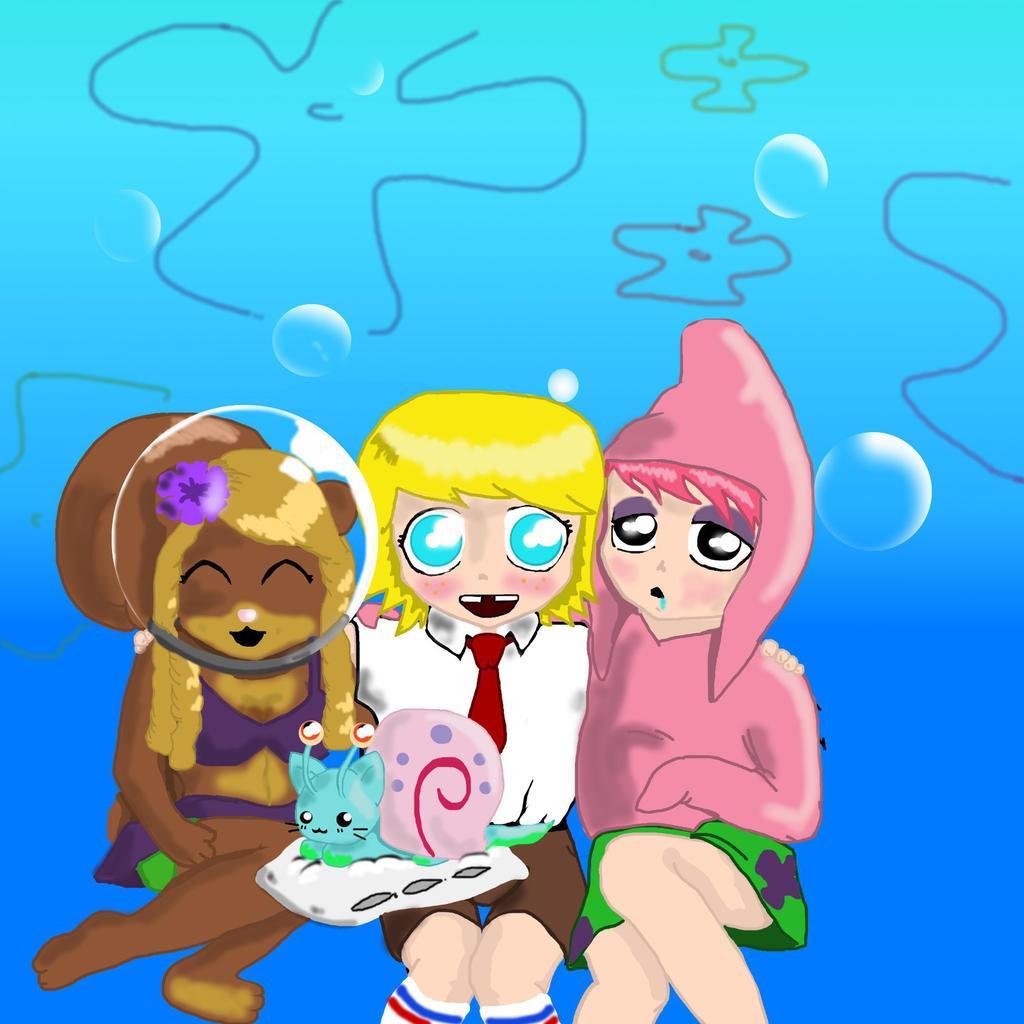 spongebob sandy and patrick anime style by scarygermangirl on