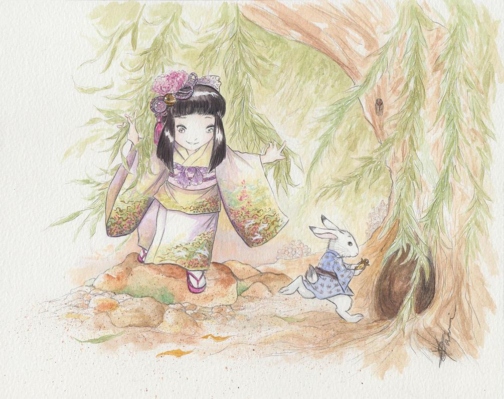 Arisu and White Rabbit by Tavicat