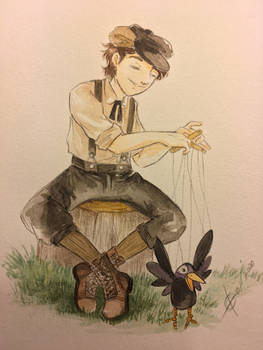 Dane with Crow Puppet